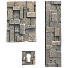 Brutalist Bronze Push or Pull Door Handle Set with Geometric Design 20th Century
