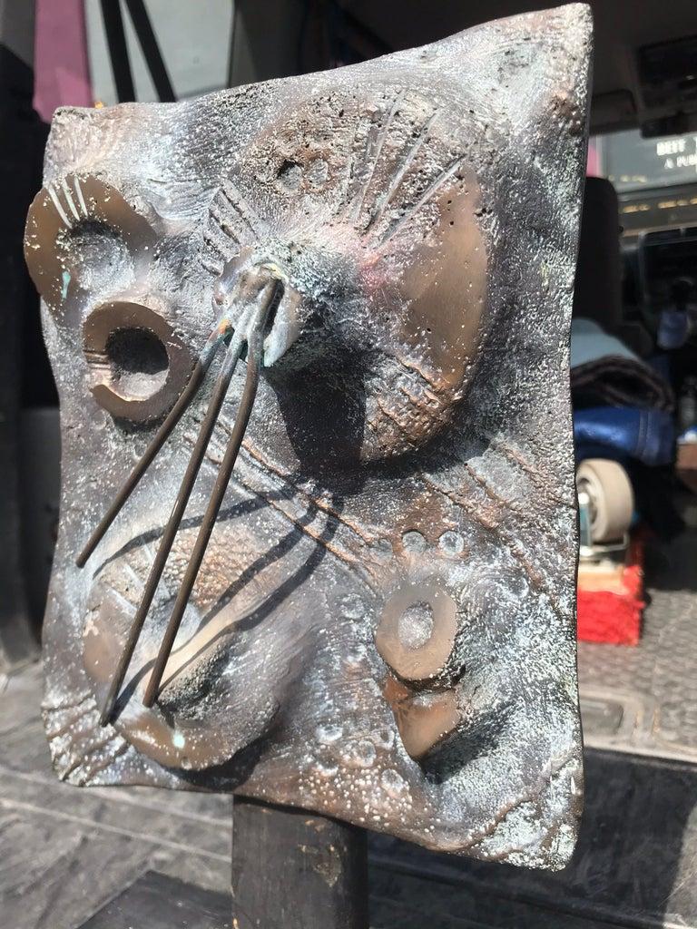 Modern Brutalist Bronze Sculpture Relief, 20th Century For Sale