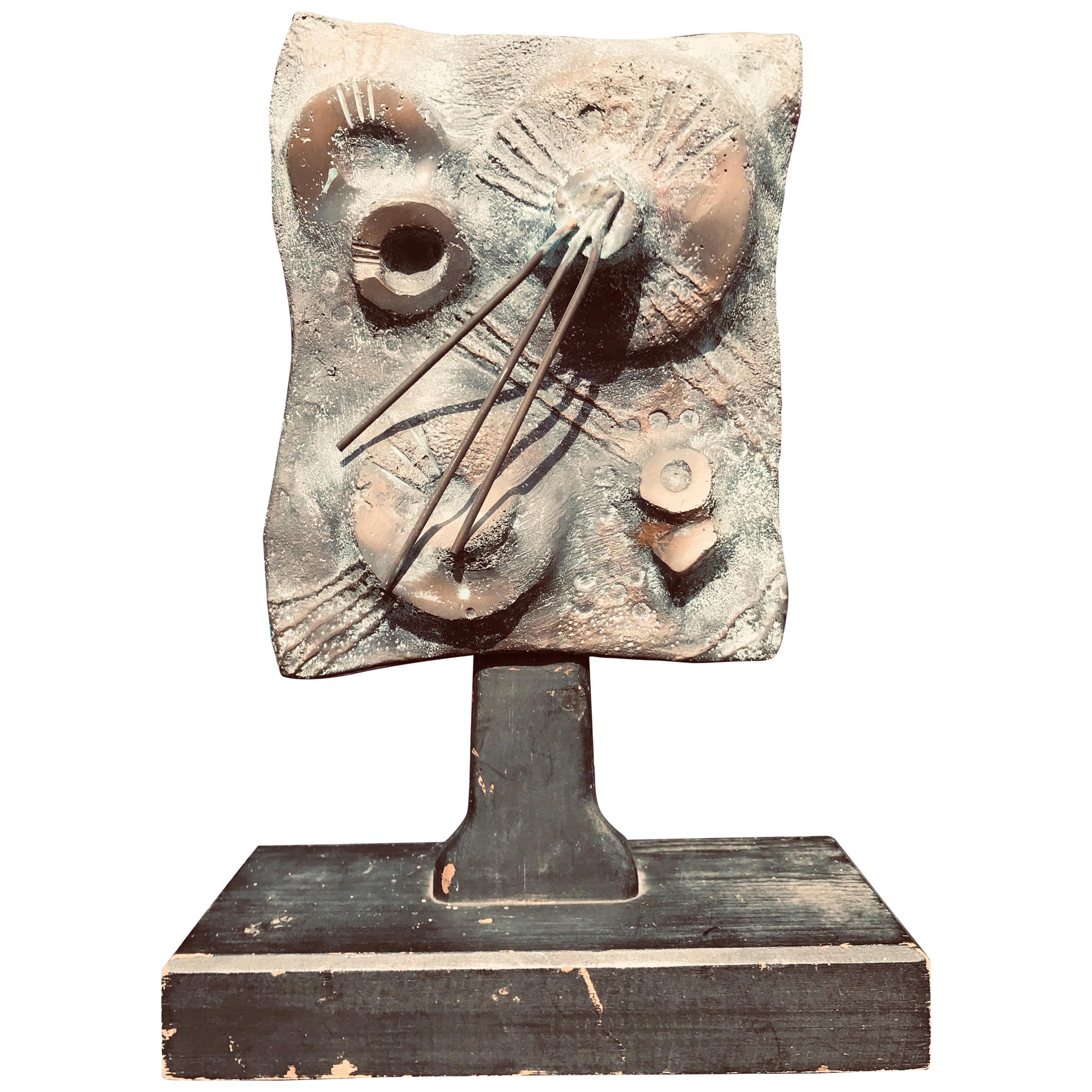 Brutalist Bronze Sculpture Relief, 20th Century