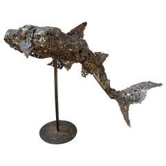 Brutalist Bronze Shark Sculpture