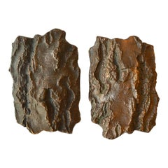 Brutalist Bronze with Tree Bark Design Door Handles for Double Doors