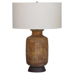Brutalist Brown Glazed Textured Ceramic Table Lamp