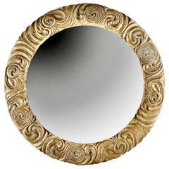 Round Carved & Gilt Wood Mirror