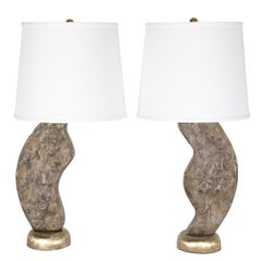 Brutalist Cast Brass Table Lamps, circa 1970s