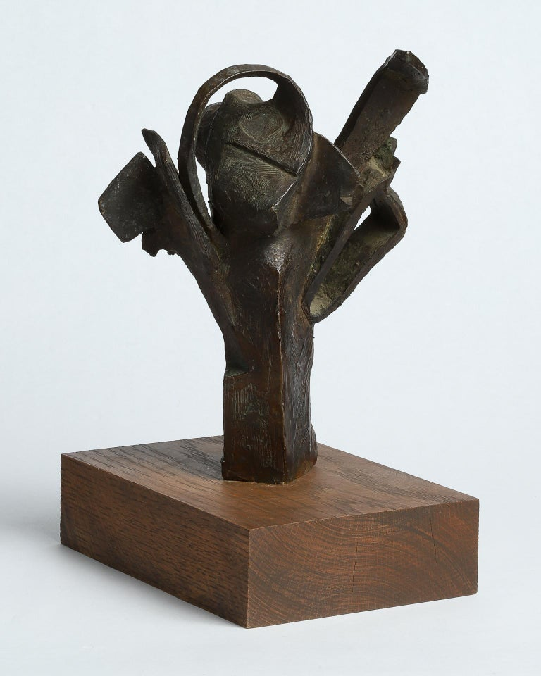American Brutalist Cast Bronze Table Top Sculpture For Sale