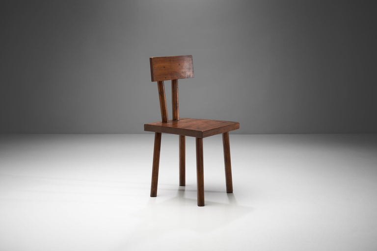 Wood Brutalist Chair, France, circa 1950s For Sale