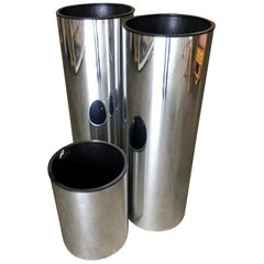 Brutalist Chrome Foil Cylinder Planter, Set of 3