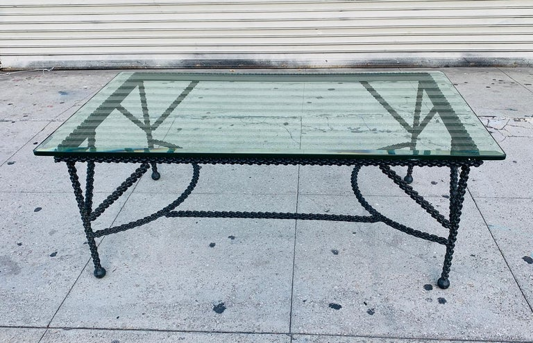 Blackened Brutalist Coffee Table Base, Chains on Me For Sale