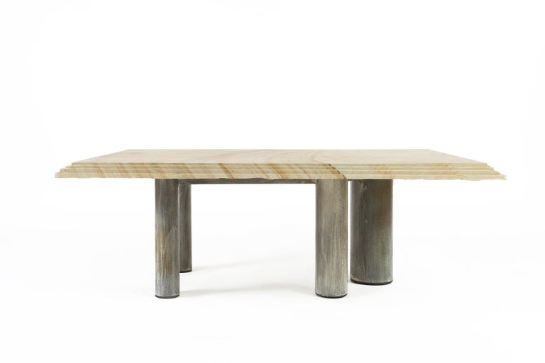 Beautifull Brutalist coffee table designed and made by the legendary Belgian design company Pia Manu. Pia Manu is a workshop from Ingelmunster, Belgium where Jules Dewaele, and later his son Koen Dewaele worked during the 1960s until now, working