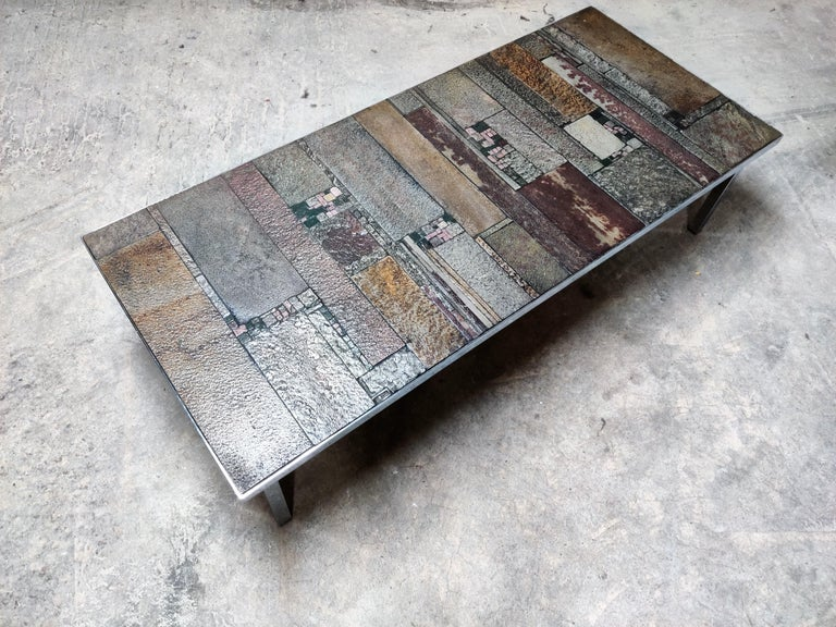 Brutalist Coffee Table by Pia Manu for Amphora, 1960s For Sale 1