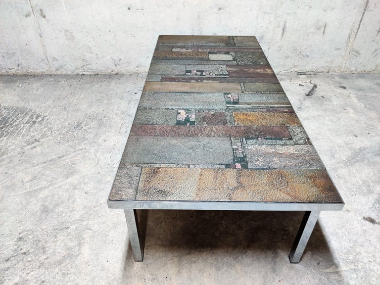 Brutalist Coffee Table by Pia Manu for Amphora, 1960s For Sale 2