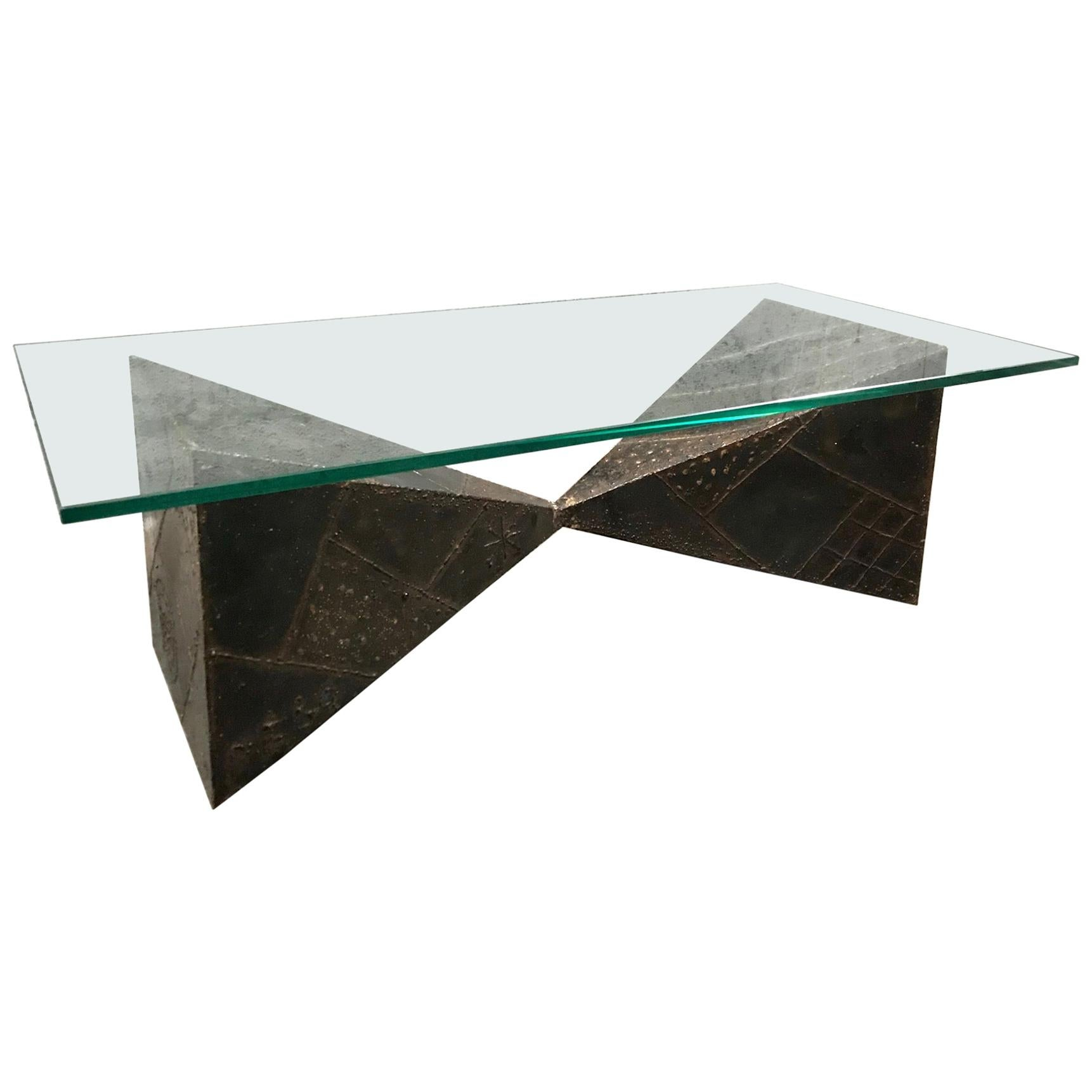 Brutalist Coffee Table for Directional, Paul Evans, 1970