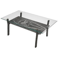Brutalist Coffee Table in Aluminum and Glass