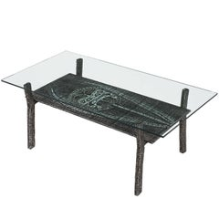 Brutalist Coffee Table in Cast Iron and Glass, 1970s