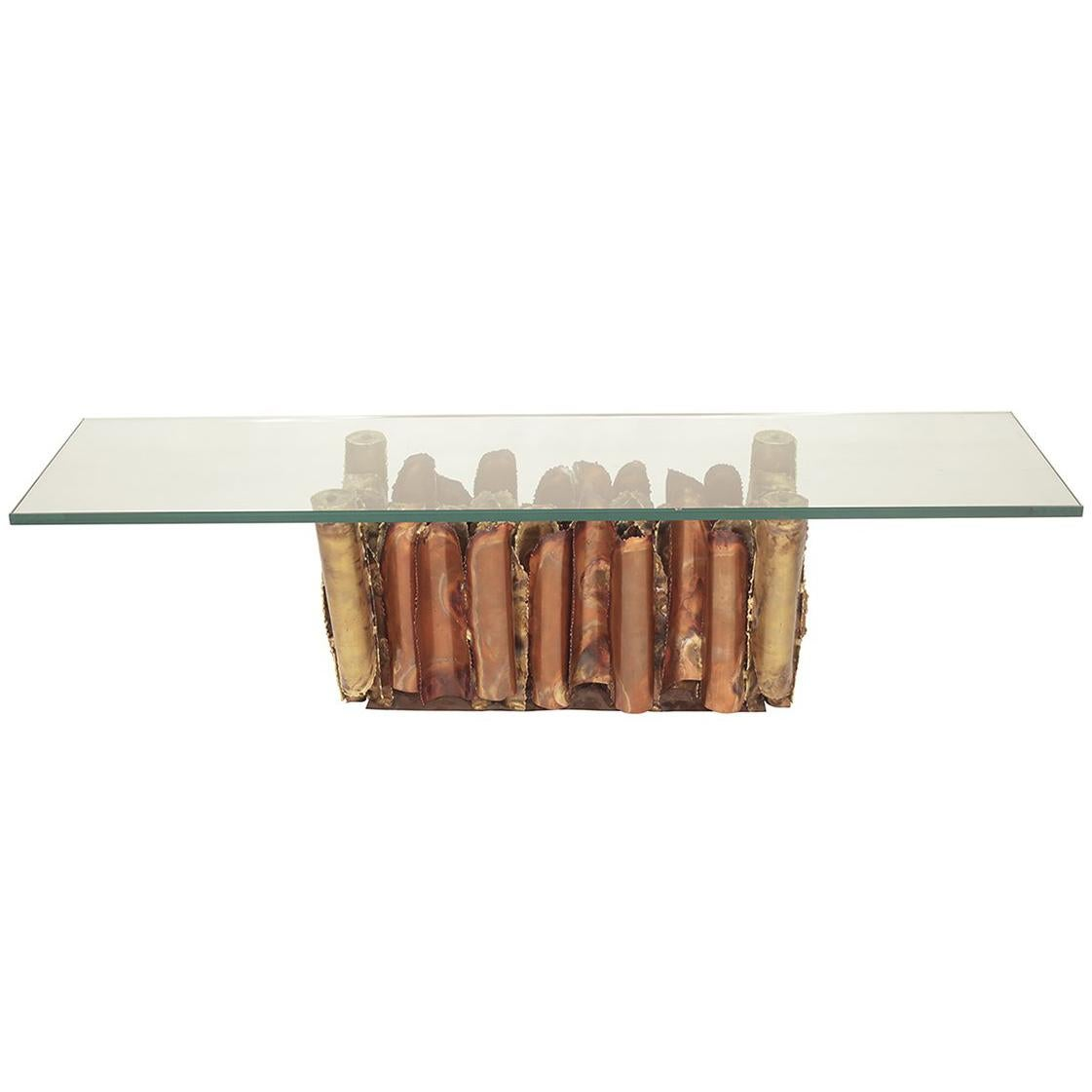 Brutalist Coffee Table with Sculptural Copper and Brass Base and Glass Top