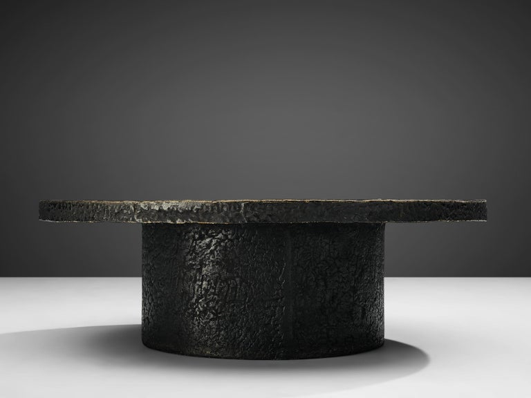 European Brutalist Coffee Table with Stone Look