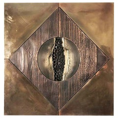 Brutalist Copper and Brass Metal Wall Sculpture Attributed to Paul Vanders