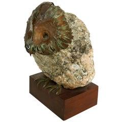 Brutalist Copper and Mineral Specimen Owl Sculpture