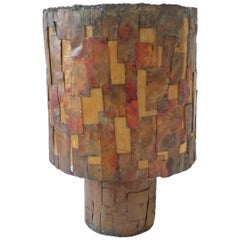Brutalist Copper Patch Work Table Lamp Attributed as Early Paul Evans