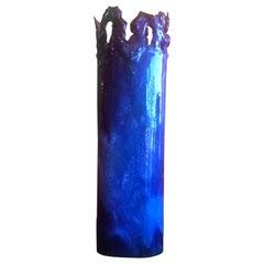 Brutalist Copper Vase with Dark Blue Enamel Overlays by Rita Brierton