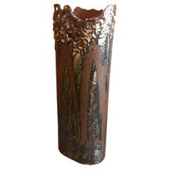 Brutalist Copper Vase with Enamel Overlay by Rita Brierton