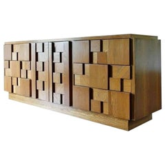 Brutalist Credenza in Natural Wood Finish by Lane