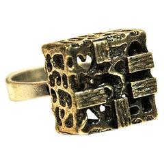 Brutalist Cube Silver Ring by Martti Viikinniemi, Finland, 1970