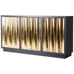 Brutalist Design Style Black Lacquered Wooden And Brass Sideboard
