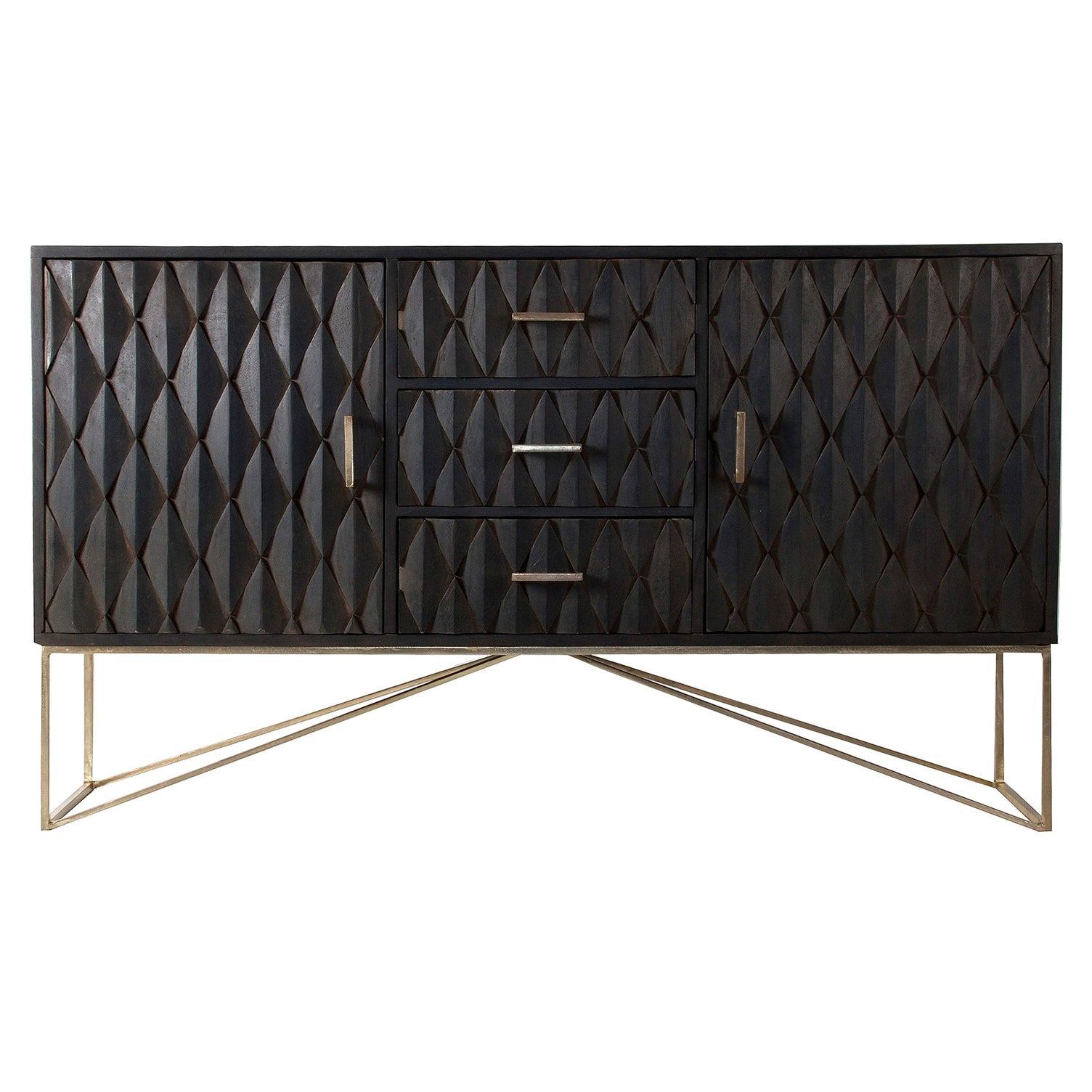 Brutalist Design Wooden and Gilded Metal Sideboard Cabinet