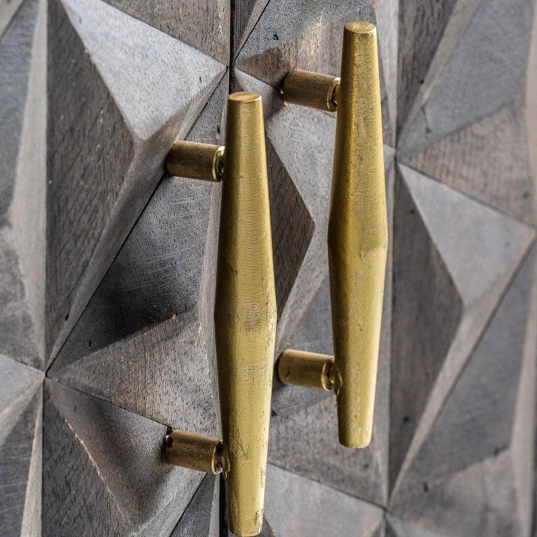 European Brutalist Design Wooden and Gilded Metal Sideboard For Sale