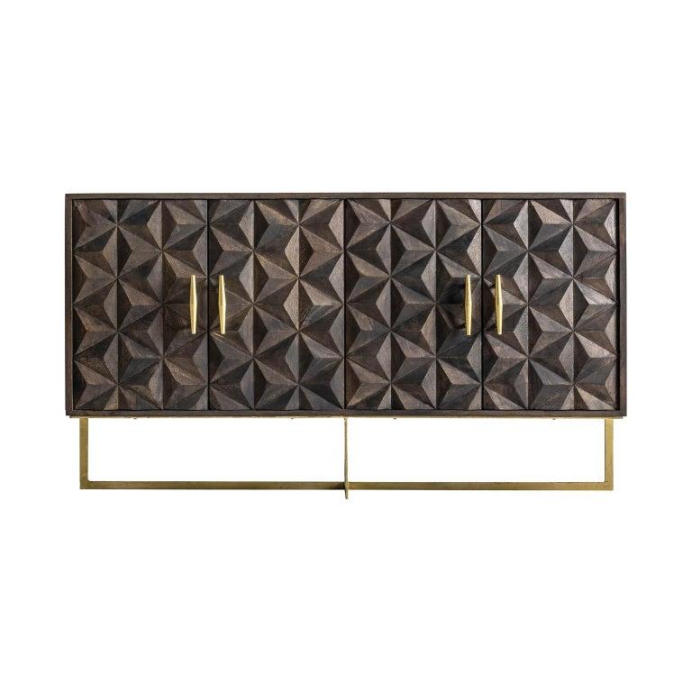 Brutalist Design Wooden and Gilded Metal Sideboard For Sale 1