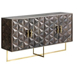 Brutalist Design Wooden and Gilded Metal Sideboard