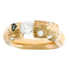 Brutalist Diamond and Raw Diamond Set Gold Ring