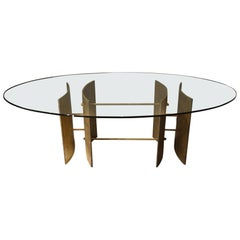 Brutalist Dinning Table in Solid Bronze, circa 1970