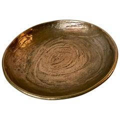 Brutalist Dish in Textured Bronze, Denmark, 1970s