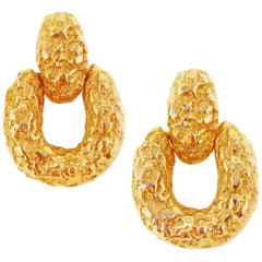 Brutalist Door Knocker Statement Earrings, circa 1960