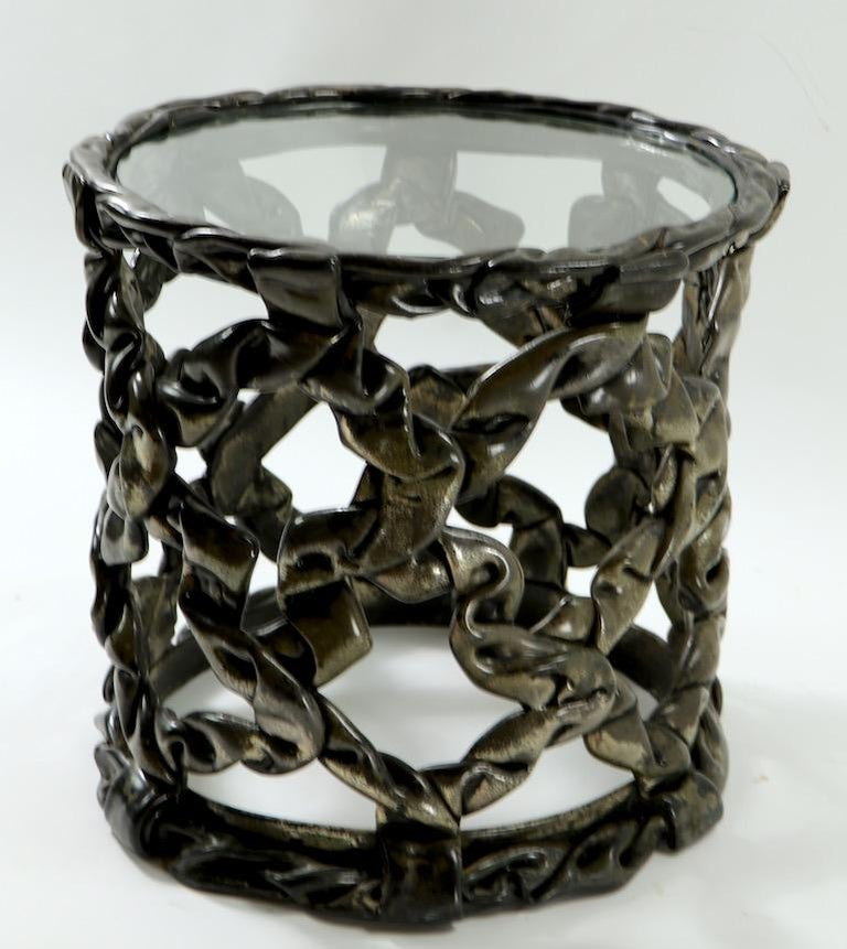 American Brutalist Drum Table of Resin and Glass For Sale
