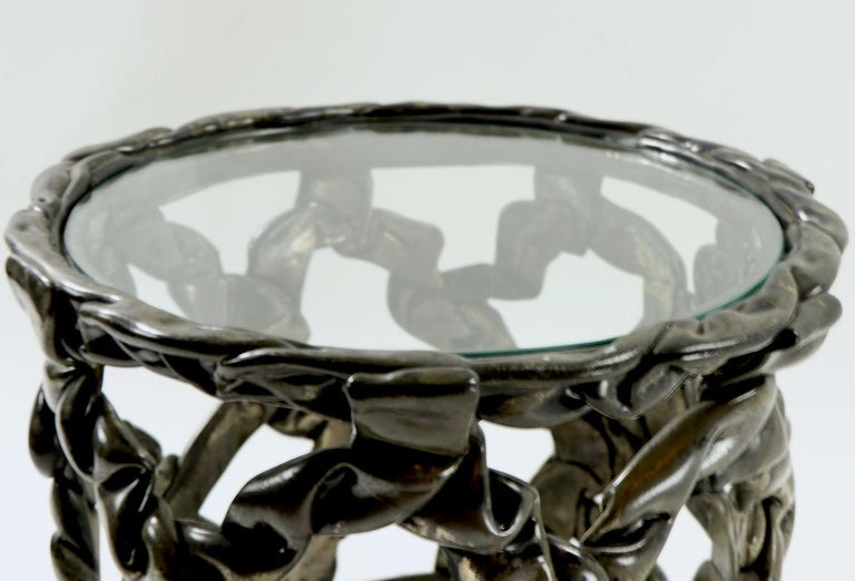 Brutalist Drum Table of Resin and Glass For Sale 4
