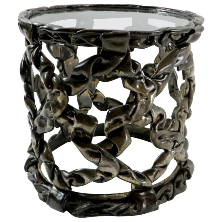 Brutalist Drum Table of Resin and Glass For Sale