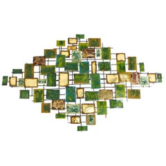 Brutalist Enameled Brass and Bronze Wall Sculpture by Mario Jason
