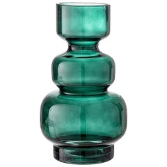 Brutalist Era Style Green Colored Glass Vase