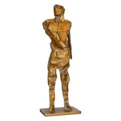 Brutalist Figurative Bronze Table Sculpture Signed