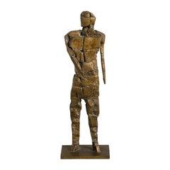 Brutalist Figurative Bronze Table Sculpture Signed JR