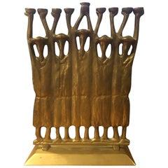 Brutalist Figurative Rabbi Menorah in Bronze by Ruth Block