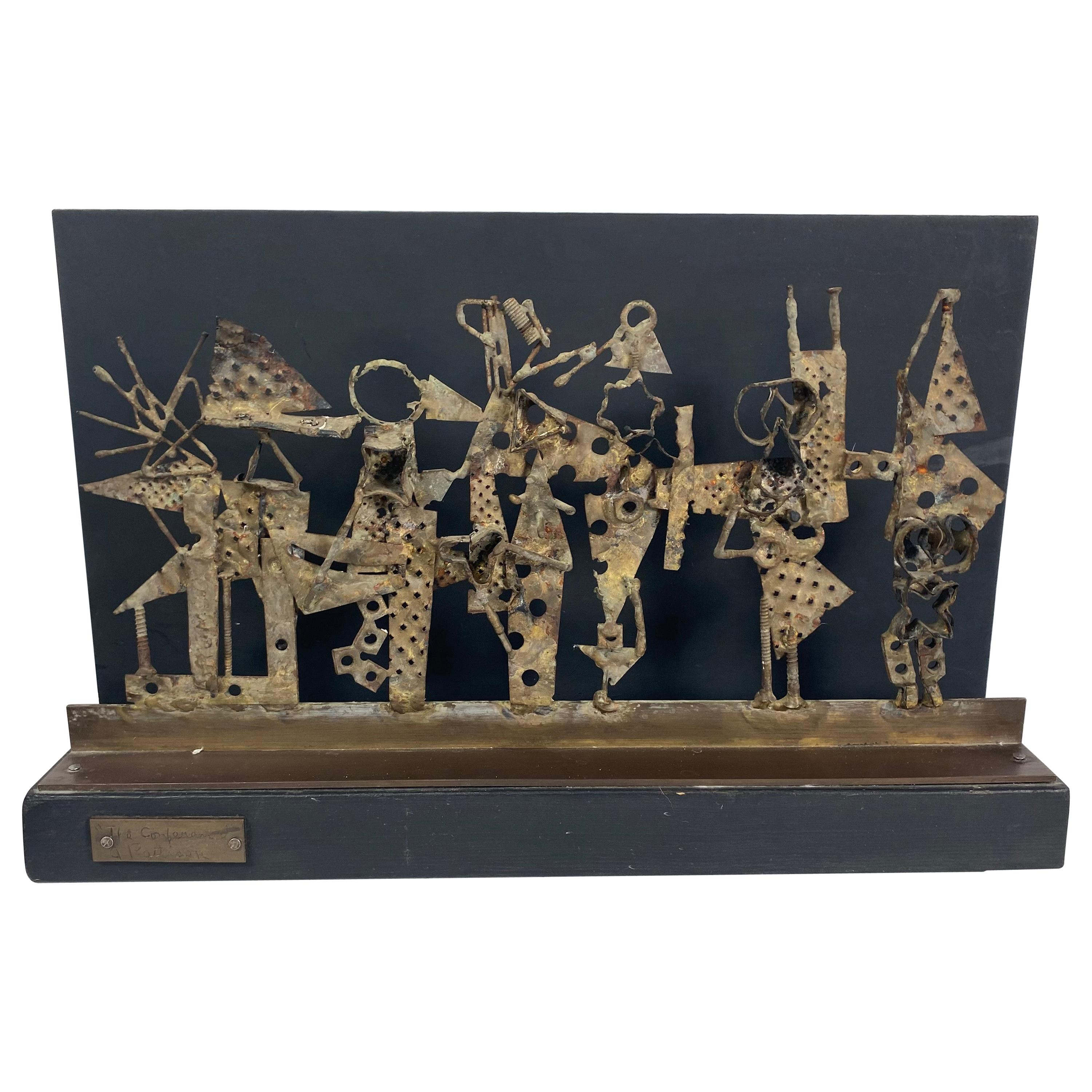 """Brutalist Folk Art Sculpture """"The Conference"""" by Abbott Pattison // Abstract Fig"""