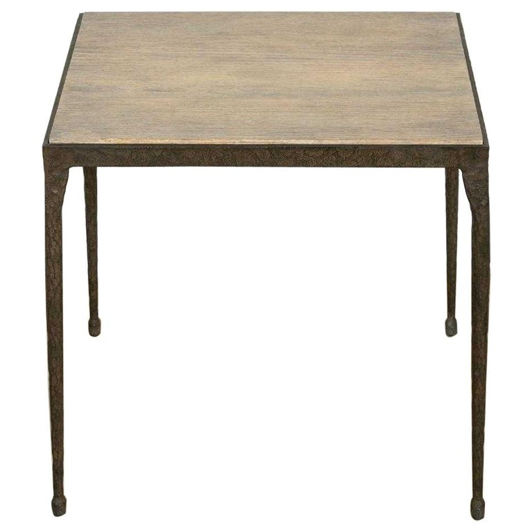 Brutalist Forged Iron and Faux Bois-Style Table For Sale