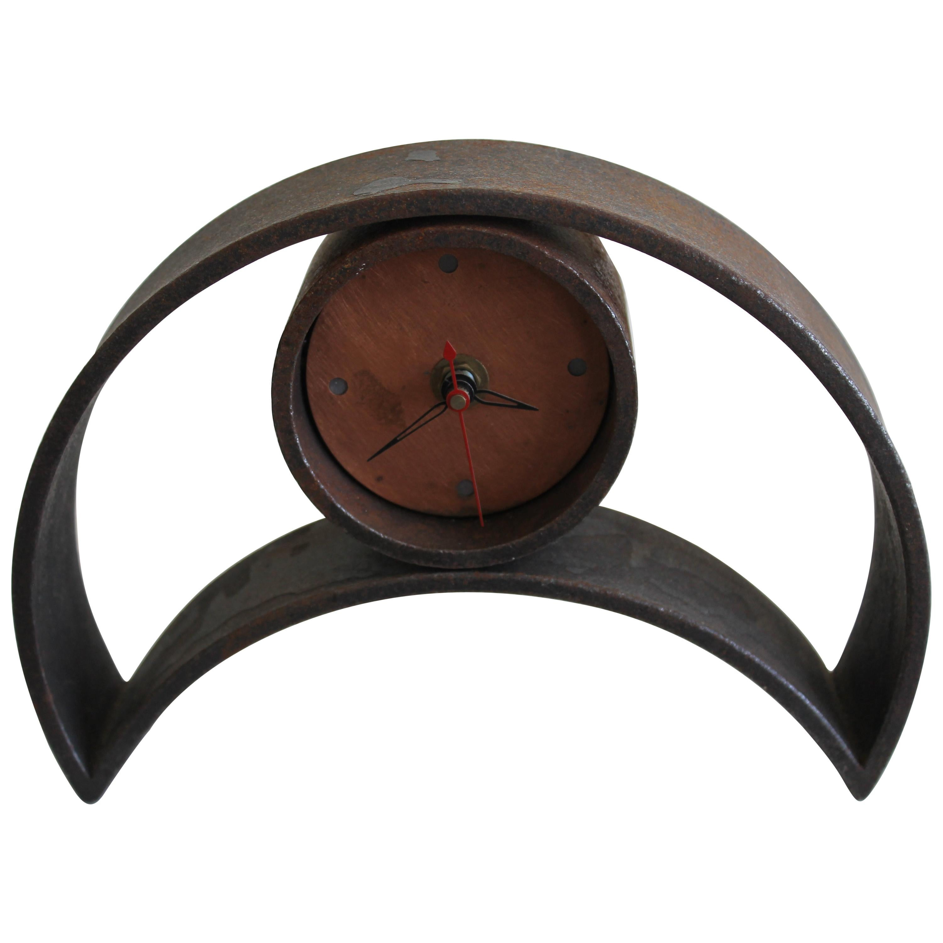 Brutalist Forged Iron Mantle Clock