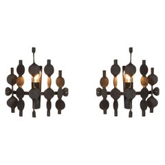 Brutalist Forged Iron Wall Sconces