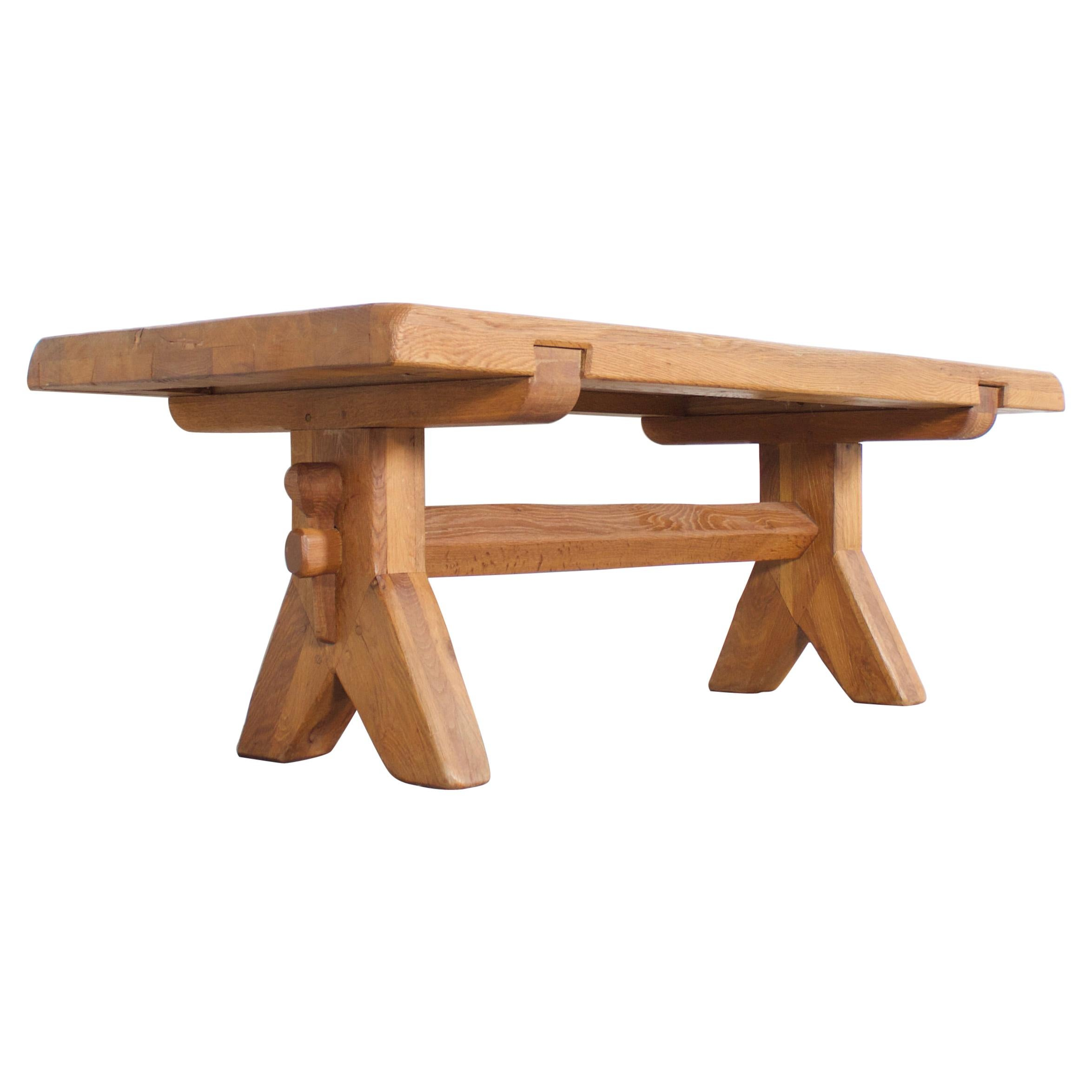 Brutalist French Artisan Console / Coffee Table in Solid Oak, 1960s