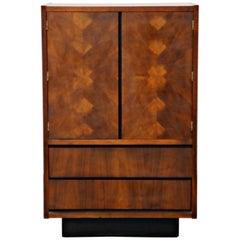 Brutalist Gentleman's Burled Highboy Wardrobe Dresser by Lane, 1960s, Signed